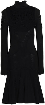 Roberto Cavalli Pleated Pointelle-knit Turtleneck Dress