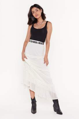 Nasty Gal Womens Frills in the Night High-Waisted Maxi Skirt - tan - 12