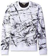 Calvin Klein Jeans Men's Marble Printed Crew Neck Sweatshirt