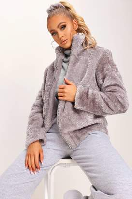 I SAW IT FIRST Grey Faux Fur Bomber Jacket