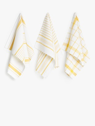 John Lewis & Partners Stripe & Check Tea Towels, Pack of 3