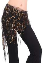 Generic Lady's Belly Dance Sequins Triangle Hip Scarf Costume Dancewear With Tassel