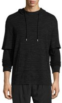 ATM Anthony Thomas Melillo Mixed-Media Double-Sleeve Hoodie, Black
