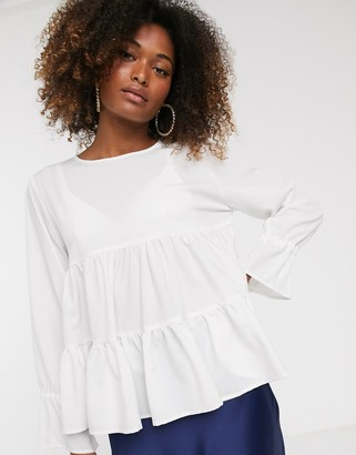 AX Paris tiered swing top-White
