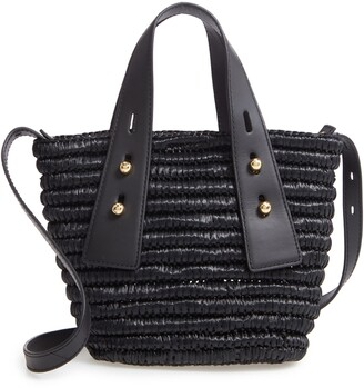 Frame Les Second Mini Raffia & Leather Crossbody Bag