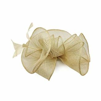 Meiz New Ladies Elegant Sinamay Flower Fascinator Headban and Clip (Light Gold)