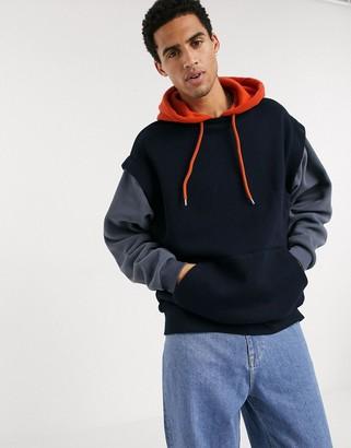 ASOS DESIGN oversized double layer hoodie in mixed sweat & polar fleece fabric in collegiate colors