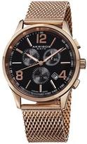 Akribos XXIV Chronograph Black Dial Rose Gold-tone Men's Watch