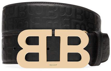 Bally Mirror B Stamped Leather Belt, Black
