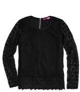Aqua Girls' Long Sleeve Lace Top, Big Kid - 100% Exclusive