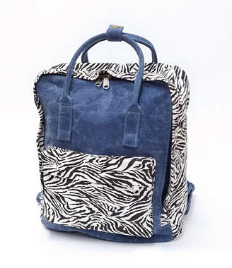 Vintage Havana Denim With Accents Of Zebra Print Backpack