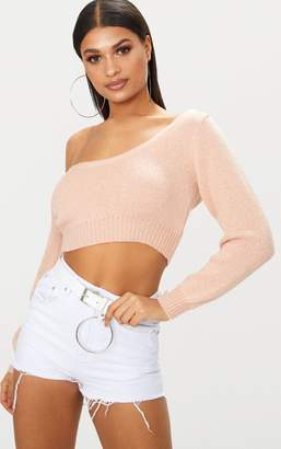 PrettyLittleThing Nude V Neck Off Shoulder Soft Knitted Crop Jumper