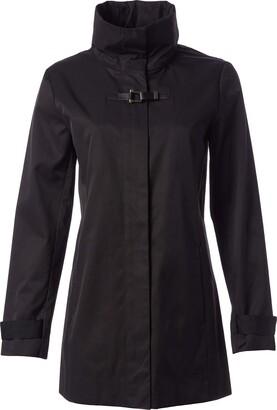 Cole Haan Women's Cotton Rain Zip Front Jacket with Hidden Hood