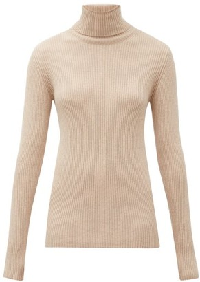 Hillier Bartley Roll-neck Ribbed-knit Cashmere Sweater - Womens - Camel