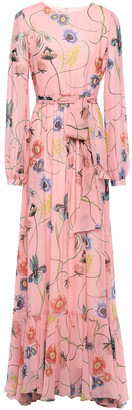 Borgo de Nor Dianora Gathered Printed Silk-chiffon Maxi Dress