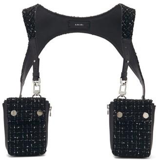 Amiri Leather-trimmed Boucle Harness Bag - Black
