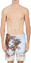 Orlebar Brown Men's Beach-Print Dane II Swim Trunks-WHITE, BLUE