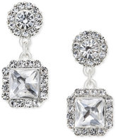 Charter Club Silver-Tone Square Crystal Drop Earrings, Only at Macy's