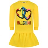 Moschino Girls Yellow Hearts Print Dress