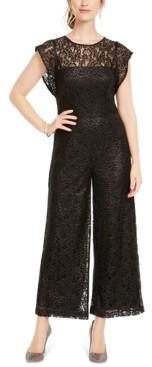 Donna Ricco Wide-Leg Lace Jumpsuit