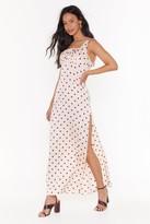 Nasty Gal Womens Don't Slit Up Polka Dot Maxi Dress - Beige - 6