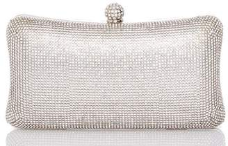 Quiz Silver Diamante Box Bag