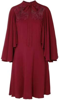 Giambattista Valli Pussy-bow Guipure Lace-paneled Crepe Dress
