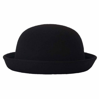 Casecover Bowler Hats Wool Round Hats Trendy Fedora Bucket Caps with Roll-up Brim for Women Black