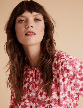 Marks and Spencer Floral Waisted Blouson Sleeve Blouse