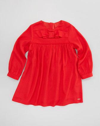Chloé Crepe de Chine Bow-Front Dress, Sizes 4-10