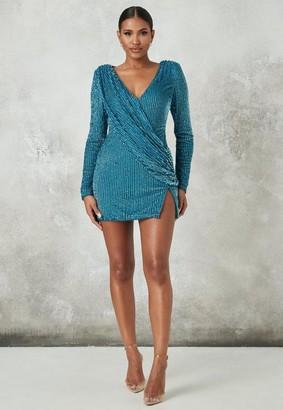Missguided Blue Embellished Plunge Drape Mini Dress