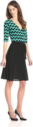 Star Vixen Women's Elbow Sleeve Fauxwrap Dress