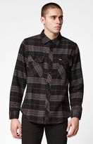 Brixton Bowery Plaid Flannel Long Sleeve Button Up Black & Charcoal Shirt