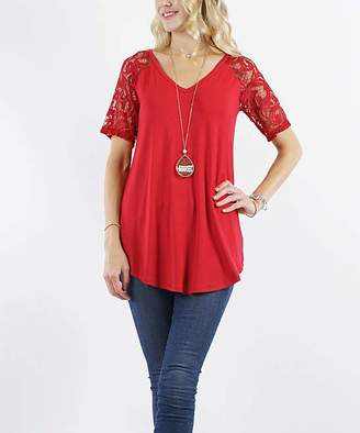 Lydiane Women's Tunics DKRED - Dark Red V-Neck Lace-Sleeve Curved-Hem Tunic - Women