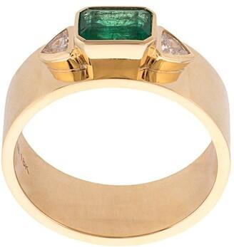 Azlee 18kt Yellow Gold, Emerald And White Trilliondiamonds Ring