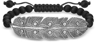 Thomas Sabo Blackened 925 Sterling Silver, Obsidian and Zirconia Ethnic Feather Bracelet