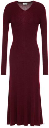 Lanvin Pointelle-trimmed Ribbed Cashmere And Silk-blend Midi Dress