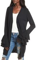 Soprano Women's Ruffle Sleeve Longline Cardigan