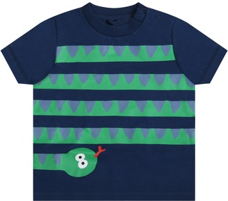 Stella McCartney Kids Blue T-shirt For Babyboy With Snake