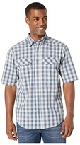 Wolverine Pentwater Vented Back Short Sleeve Shirt (Bay Blue Plaid) Men's Clothing
