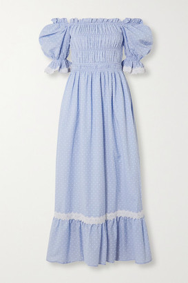 Lug Von Siga Elisa Off-the-shoulder Crochet-trimmed Swiss-dot Cotton Midi Dress - Light blue