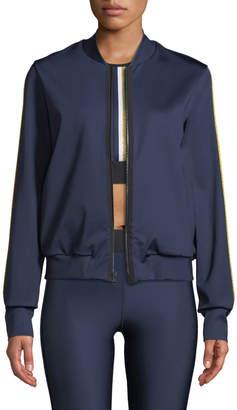ULTRACOR Silk Collegiate Side-Stripe Bomber Jacket