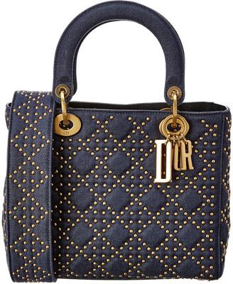 Christian Dior Medium Lady Quilted & Studded Denim Shoulder Bag