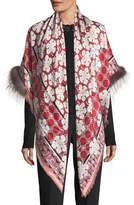 Fendi Fox Fur-Trim Jacquard Shawl