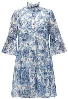 Erdem Wyn Modotti Wallpaper Cotton-blend Mini Dress - Womens - Blue White