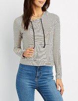 Charlotte Russe Striped Drawstring Hoodie