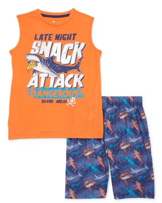 Sleep On It Boys 6-14 Shorts with Muscle Tee 2-Piece Pajama Set