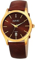 August Steiner Women's Quartz Stainless Steel and Leather Casual Watch, Color:Brown (Model: AS8233YGBR)