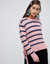 Soaked In Luxury Stripe Sweater With Tie Side
