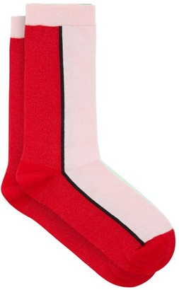 Ganni Bi-colour Cotton-blend Crew Socks - Pink Multi